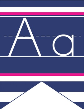 NAUTICAL pink - Alphabet Flag Banner, handwriting, A to Z, ABC print font