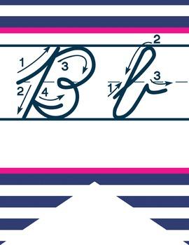 NAUTICAL pink - Alphabet Flag Banner, handwriting, A to Z, cursive font