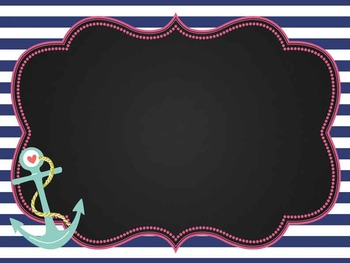 NAUTICAL pink - Class Decor:editable chalkboard  POSTERS / Bistro Chalk Markers