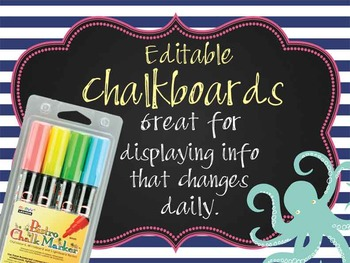 NAUTICAL pink - Class Decor:editable chalkboard  POSTERS /