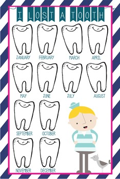 NAUTICAL pink - Classroom Decor: I lost a TOOTH - size 24 x 36