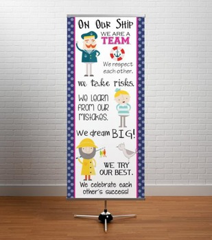 NAUTICAL pink - Classroom Decor: LARGE BANNER, On Our Ship