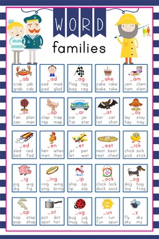 NAUTICAL pink - Classroom Decor: Lang Arts, Word Families