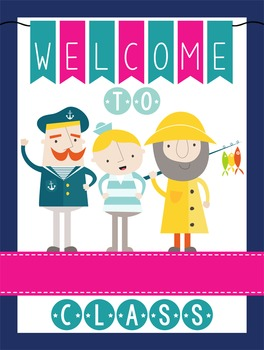 NAUTICAL pink - Classroom Decor: WELCOME Poster - 18 x 24, you personalize