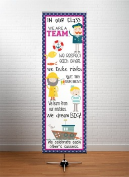 NAUTICAL pink - Classroom Decor: XLARGE BANNER, On Our Ship