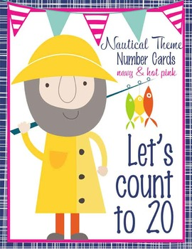 NAUTICAL pink - Number Line Banner, 0 to 20, Illustrated, base ten frames