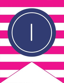 NAUTICAL pink - Number Line Banner, 1 to 25, EDITABLE to continue