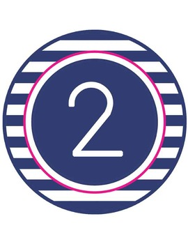 NAUTICAL pink - TABLE NUMBERS and CIRCLE DECOR