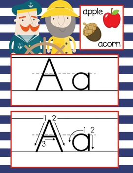 NAUTICAL red - Alphabet Cards, Handwriting, Cards, ABC print with pictures
