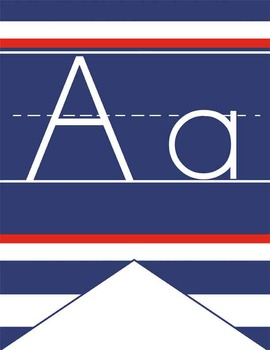 NAUTICAL red - Alphabet Flag Banner, handwriting, A to Z,
