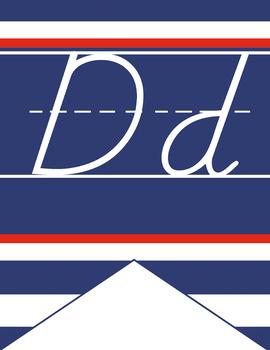 NAUTICAL red - Alphabet Flag Banner, handwriting, A to Z, D'Nealian manuscript