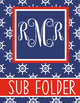 NAUTICAL red - Binder Covers, EDITABLE so you can personalize