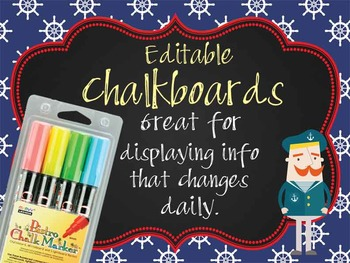 NAUTICAL red - Class Decor:editable chalkboard  POSTERS /