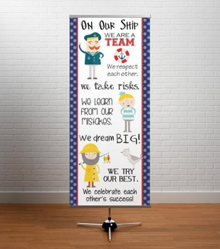 NAUTICAL red - Classroom Decor: LARGE BANNER, On Our Ship
