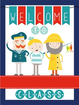 NAUTICAL red - Classroom Decor: WELCOME Poster - 18 x 24, you personalize