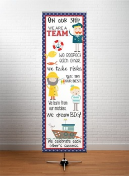 NAUTICAL red - Classroom Decor: X-LARGE BANNER, On Our Ship