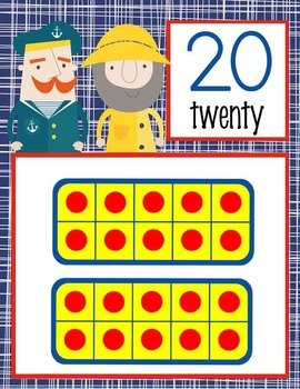 NAUTICAL red - Number Line Banner, 0 to 20, Illustrated