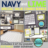 NAVY and LIME Polka Dots Classroom Decor EDITABLE