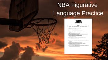 NBA Figurative Language Practice Worksheet (LEBRON STEPH CURRY JAMES HARDEN)