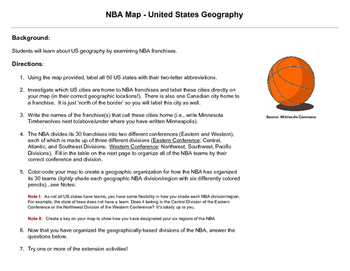 NBA Map - United States Geography  States Labeling Game on