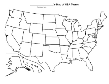 NBA Map - United States Geography by Kurt Johnson | TpT Us Map Nba Teams on