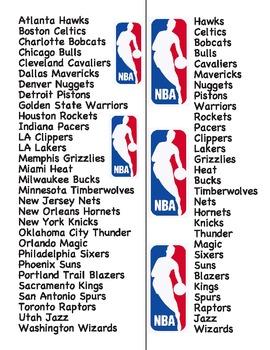 NBA basketball team names vocab list