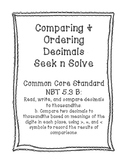 NBT 5.3B Comparing & Order Decimals Seek n Solve