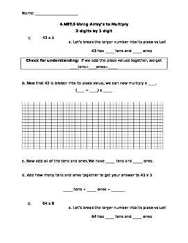 NBT.5 Multiplying Two Digit by One Digit using Array Model