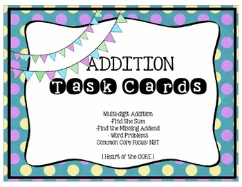 NBT Addition Task Cards: To the millions place!