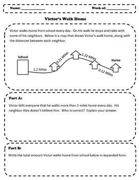 NBT Problem Solving Situation - Decimals - Victor's Walk Home