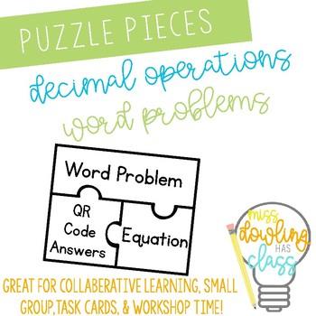 Decimal Word Problem Puzzle Piece Cards with QR Codes