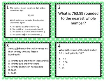 TNReady Prep: NBT Understand the Place Value System Task Cards