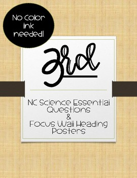 3rd Grade NC Science Essential Questions and Focus Wall Posters