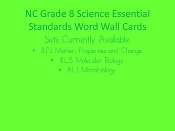 Moleculary Biology Word Wall (NC Grade 8 Essential Science Standards 8.L.5)