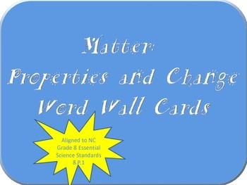 Chemistry Word Wall Cards (NC Grade 8 Essential Science St