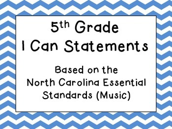 NC Essential Standards I Can Statements (K-5) -- Custom order