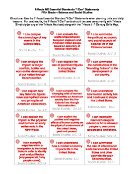 """NC Essential Standards """"I Can"""" Task Cards - Fifth Grade"""