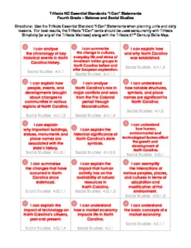 """NC Essential Standards """"I Can"""" Task Cards - Fourth Grade"""
