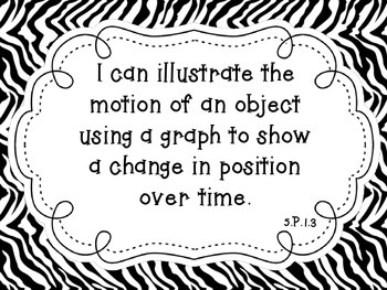 """NC Essential Standards Zebra Fifth Grade Science """"I Can"""" Statements"""