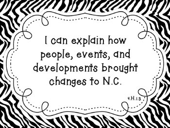 "NC Essential Standards Zebra Fourth Grade Social Studies ""I Can"" Statements"