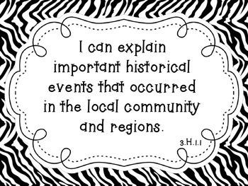 "NC Essential Standards Zebra Third Grade Social Studies ""I Can"" Statements"