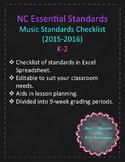 NC Essential Standards for Music K-2 Checklist