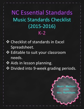 NC Essential Standards for Music K-2 Checklist