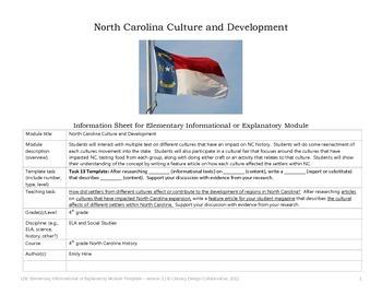 NC Expansion (Cultures that Impacted North Carolina) LDC-4th Grade