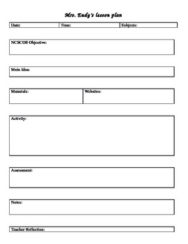 NC Lesson Plan Template