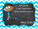 "North Carolina ""I Can"" Science Posters {Sixth Grade}"
