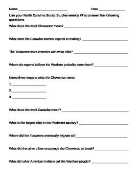 NC Social Studies Weekly Week 7 Worksheet