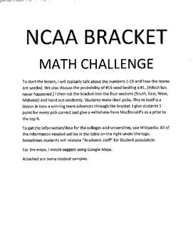 NCAA Bracket Math Challenge