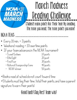 NCAA March Madness Reading Challenge