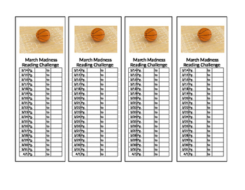 NCAA March Madness Reading Challenge bookmark